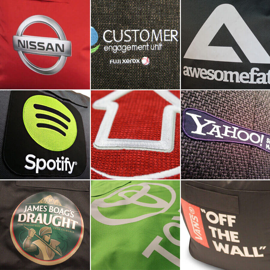 A few of our past custom branded beanbags